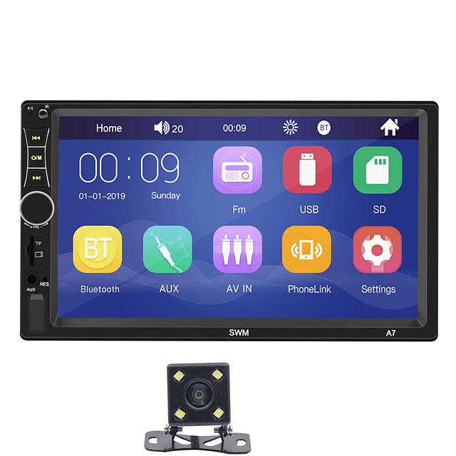 SWM A7+4Led camera 7 inch 2 DIN Windows CE Car MP5 Player / Car MP4 Player / Car MP3 Player Touch Screen / Built-in Bluetooth / SD / USB Support for universal RCA / HDMI / VGA Support MPEG / MPG / WMV