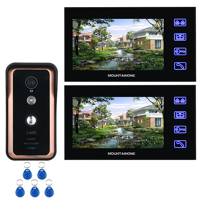 7 inch Line Touch Screen Visible Home Door Intercom RFID Code Unlock Door Phone Dual-Way Video Doorbell Intercom Camera Night Vision For Home Surveillance
