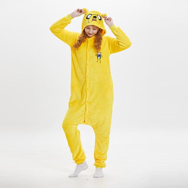 Adults' Kigurumi Pajamas Dog Onesie Pajamas Flannel Fabric Yellow Cosplay For Men and Women Animal Sleepwear Cartoon Festival / Holiday Costumes