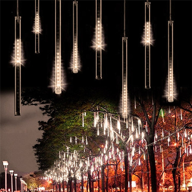 2pack 30cm x8 16 Tubes String Lights 288 LED Falling Meteor Rain Lights for Holiday Party Christmas Tree Decoration Waterproof US EU Plug UK Adapter