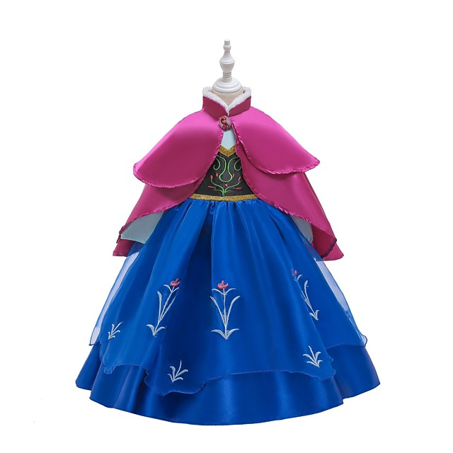 Princess Anna Dress Masquerade Flower Girl Dress Girls' Movie Cosplay A-Line Slip Retro Vintage Cosplay Blue / Ink Blue Dress Halloween Carnival Masquerade Tulle Polyester