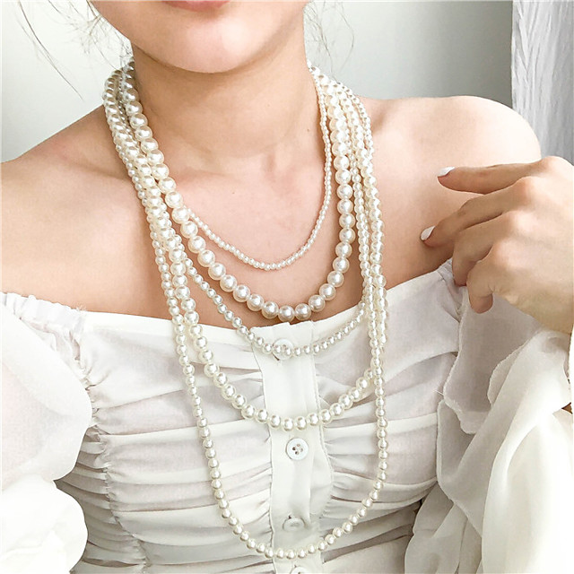 Women's Layered Necklace Pearl Strands Long Ladies Asian Bridal Multi Layer Pearl White Black Red Light gray Necklace Jewelry 1pc For Wedding Party Special Occasion Birthday Gift / Pearl Necklace