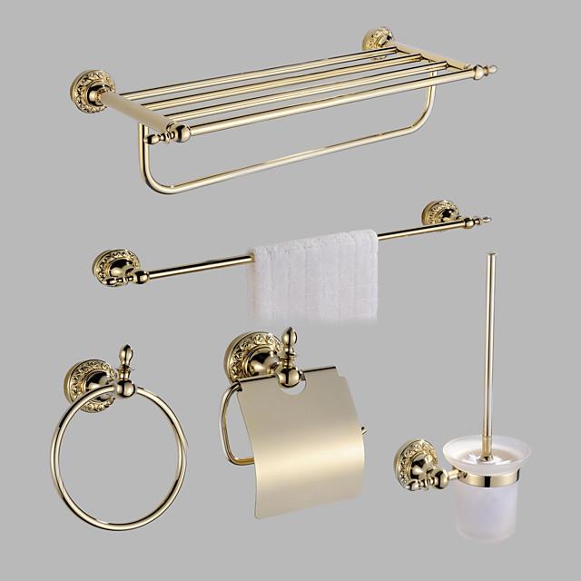 Bathroom Accessory Set Polished Brass Include Toilet Paper Holders / Tower Bar / Tower Ring / Bathroom Single Rod / Toilet Brush Holder Set Golden 5pcs