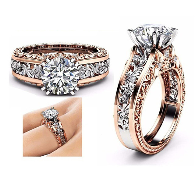 Fashion CZ Stone Brand Ring Jewelry Rose Gold Color Leaf Crystal Wedding Rings for Women Jewelry Drop Shipping Gift