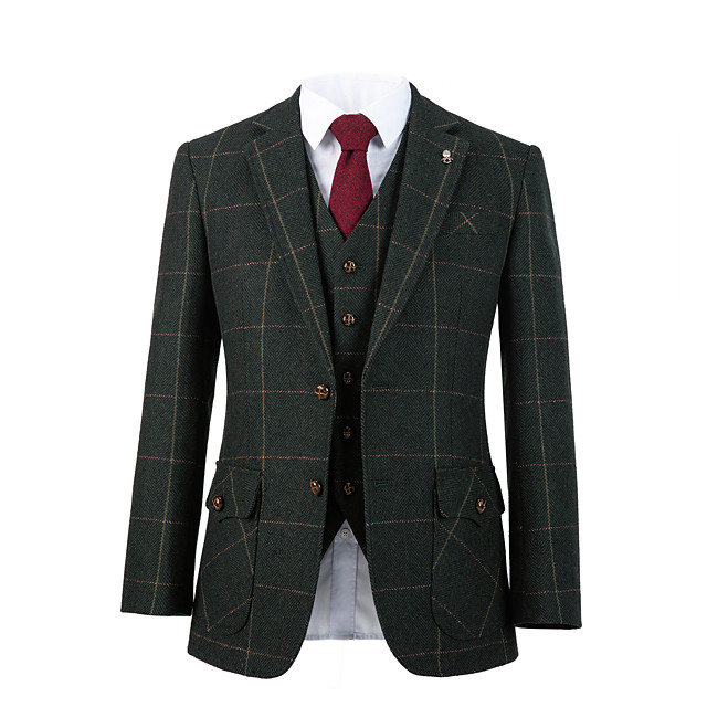 Forest green windownpane tweed wool custom suit