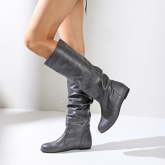 Women's Boots Hidden Heel Round Toe Faux Leather Knee High Boots Fall & Winter Black / Brown / Almond / Party & Evening