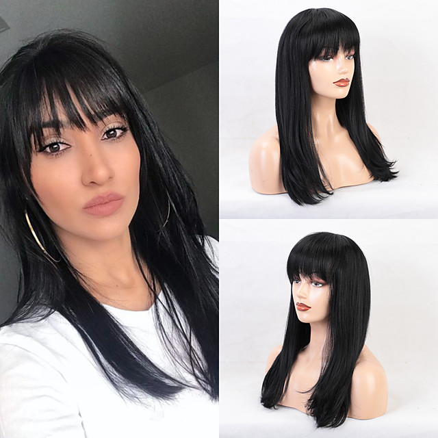 Human Hair Wig Long Straight Natural Straight Neat Bang With Bangs Black White Fashion Comfortable African American Wig Capless Women's All Natural Black 24 inch