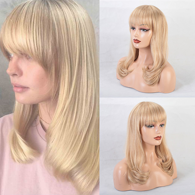 Human Hair Wig Long Straight Natural Straight Bob Pixie Cut Layered Haircut Asymmetrical Blonde Classic Fashion Comfortable Capless Women's All Beige Blonde / Bleached Blonde 24 inch