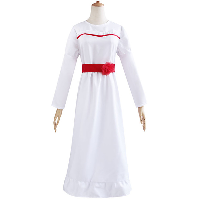 Annabelle Dress Women's Movie Cosplay Halloween White Dress Waist Accessory Waist Belt Halloween Masquerade April Fool's Day Cotton / Polyester Blend Polyster / Bell Sleeve