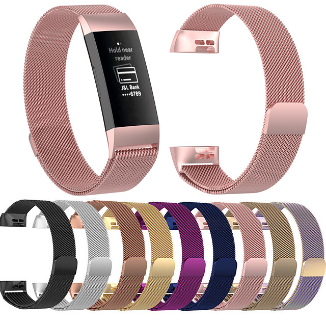 Watch Band for Fitbit Charge 3 Fitbit Milanese Loop Stainless Steel Wrist Strap