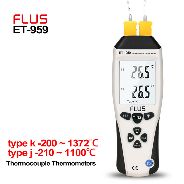 ET-959 Humidity Type K J Thermometer Handheld Portable Digital Non-contact With Thermocouple Proble Hygrometer Temperature Meter