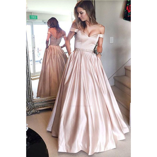 Ball Gown Cute Prom Dress Off Shoulder Short Sleeve Floor Length Satin with Sash / Ribbon 2020