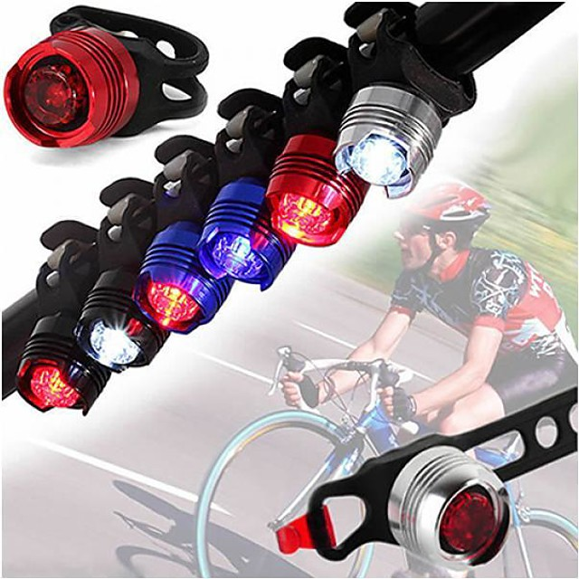 2pcs LED Bike Bicycle Cycling Outdoor Lights Front Rear Tail Helmet Red Flash Lights Safety Warning Lamp Safety Caution Light Accessories
