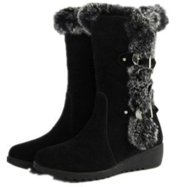 Women's Boots Snow Boots Flat Heel Round Toe Suede Booties / Ankle Boots Fall & Winter Black / Brown