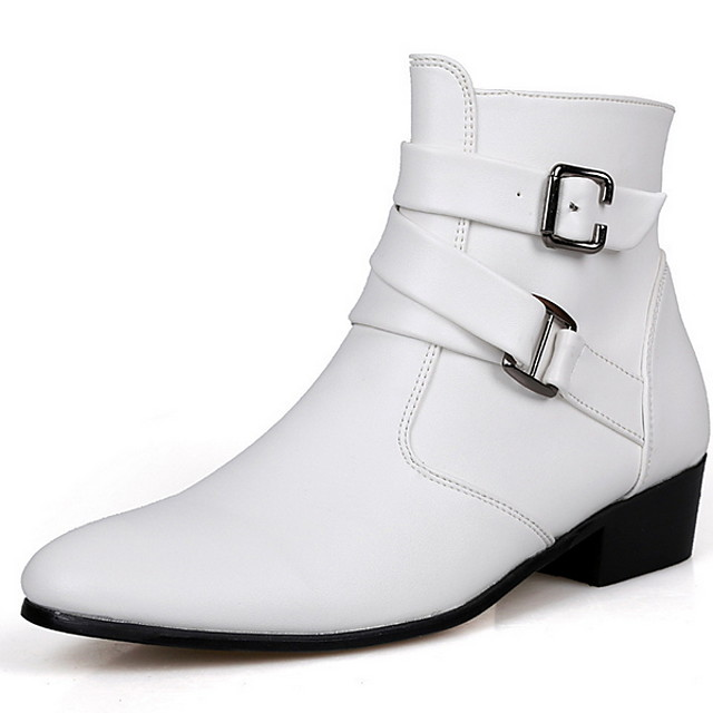 Men's Cowboy / Western Boots Winter Casual Daily Boots PU Height-increasing Booties / Ankle Boots White / Black / Brown