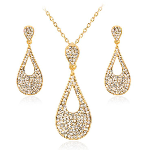 Women's White Cubic Zirconia Bridal Jewelry Sets Geometrical Pear Fashion Imitation Diamond Earrings Jewelry Gold For Gift Daily 1 set