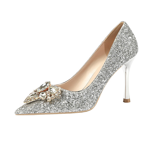 Women's Wedding Shoes Stiletto Heel Pointed Toe Rhinestone / Sequin / Buckle Satin Minimalism Spring & Summer Black / Champagne / Gold / Party & Evening