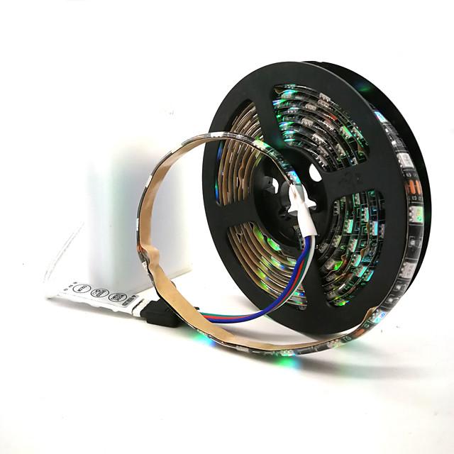 LED Strip Lights Waterproof 1M RGB Tiktok Lights Battery Powered 30 LEDs Per Meter 5050 With 3 Key Mini Controller TV Computer Backlight