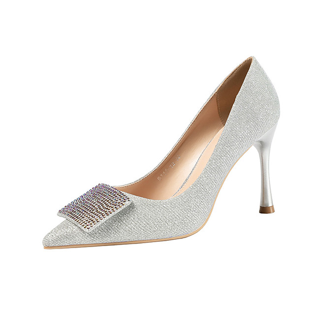 Women's Wedding Shoes Stiletto Heel Pointed Toe Rhinestone / Sequin / Buckle Synthetics Minimalism Spring & Summer Black / Light Brown / Champagne / Party & Evening