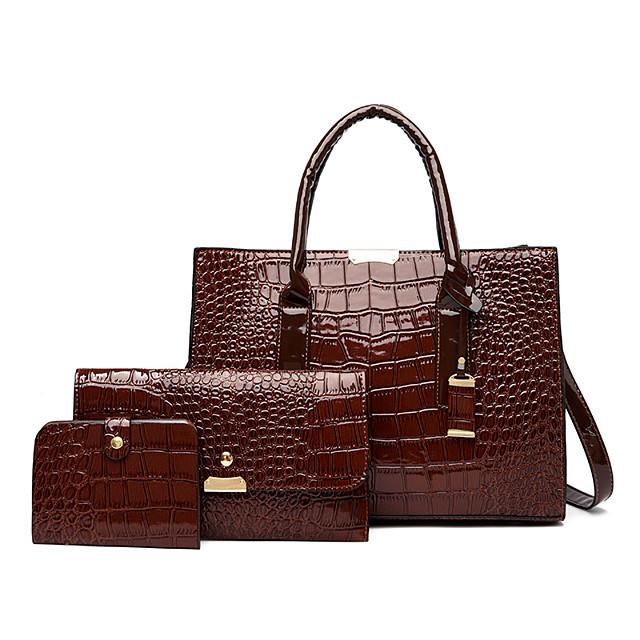 Women's Bags PU Leather Shoulder Strap Bag Set 3 Pcs Purse Set Zipper Metallic Crocodile Daily Bag Sets Handbags Dark Brown Wine Black