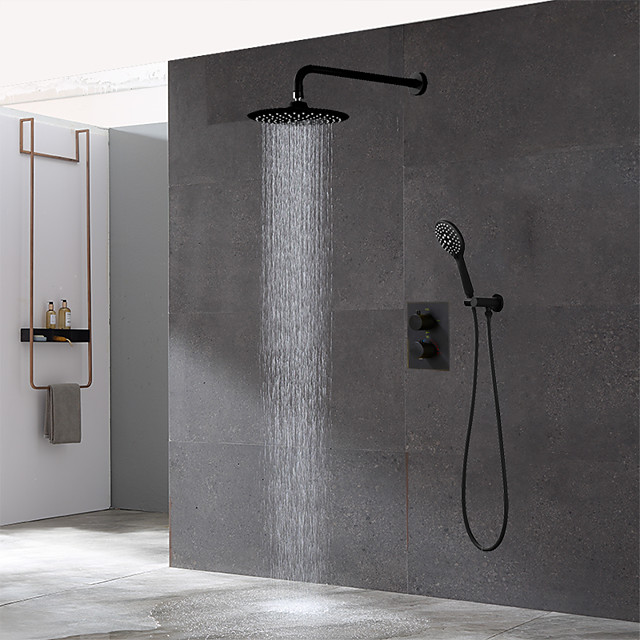 Copper Bathroom Concealed Black Thermostatic Shower Set,Wall Mounted 10 inch Rainfall Overhead and Hand-held Shower Room Faucet Kit