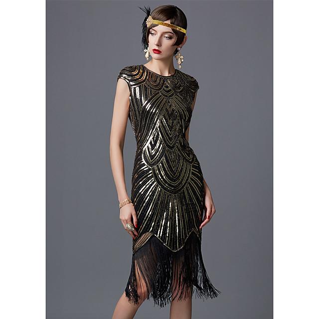 The Great Gatsby Čarlston 1920s haljina za odmor Haljina s flapperom Žene Šljokice Kostim Zlatni + crna / Obala / Crn Vintage Cosplay Party Maturalna zabava Prom Bez rukávů