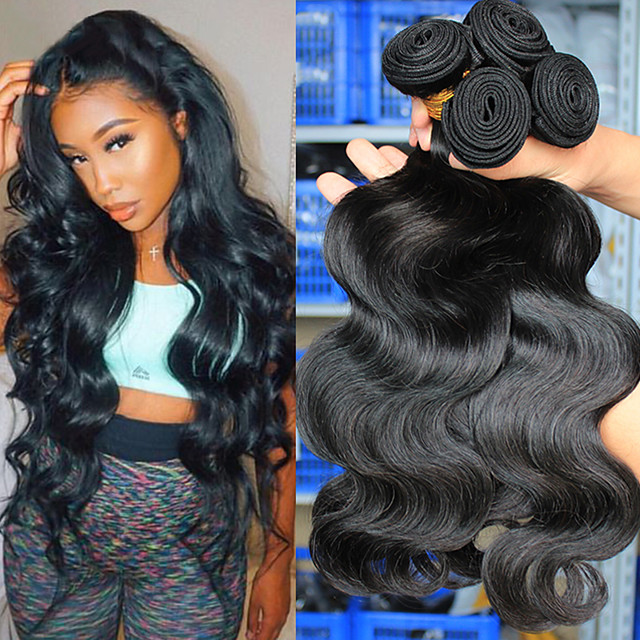 3 Bundles Hair Weaves Brazilian Hair Body Wave Human Hair Extensions Human Hair 300 g Natural Color Hair Weaves / Hair Bulk Weave 10-24 Inch Natural Natural Hot Sale Fashion