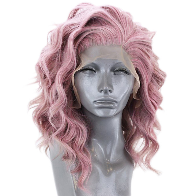 Synthetic Lace Front Wig Wavy Side Part Lace Front Wig Short Pink Synthetic Hair 12-16 inch Women's Adjustable Heat Resistant Party Pink