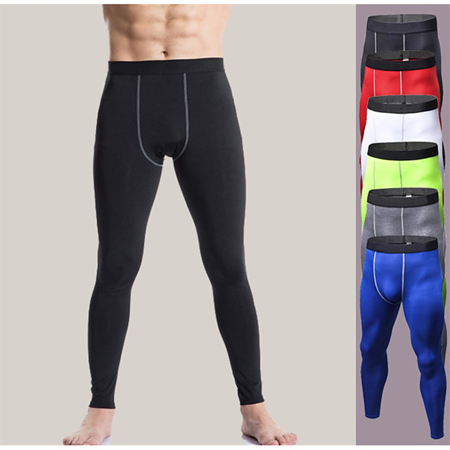 YUERLIAN Men's High Waist Running Tights Leggings Compression Pants Athletic Base Layer Tights Leggings Spandex Elastane Winter Fitness Gym Workout Running Tummy Control Butt Lift Quick Dry Sport