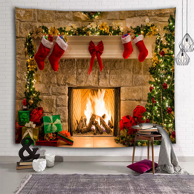 Christmas Santa Claus Wall Tapestry Art Decor Blanket Curtain Picnic Tablecloth Hanging Home Bedroom Living Room Dorm Decoration 3D Fireplace Christmas Tree Gift Polyester
