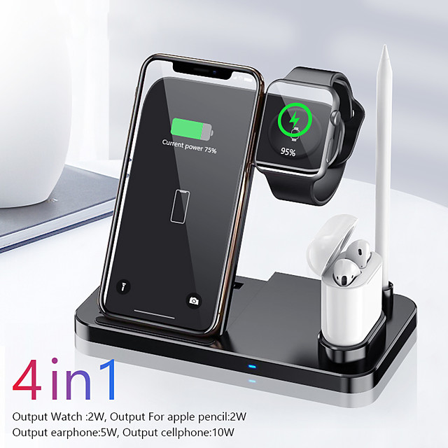 Wireless Charger 4 in 1 Charging Station For iPhone 12 Charger Qi Fast Wireless Charging Stand Compatible iPhone 11/XS/XR Compatible Apple Watch Series 6/5/4/3/2/1 Pencil Pad Airpods Pro