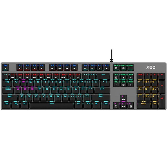 AOC GK410 USB Wired Mechanical Keyboard Gaming Keyboard Gaming Luminous Multicolor Backlit 104 pcs Keys