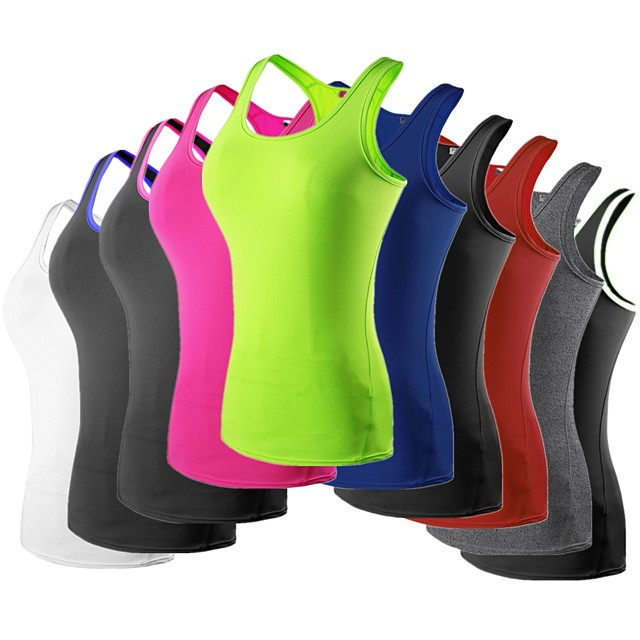 YUERLIAN Women's Sleeveless Running Shirt Compression Tank Top Racerback Vest / Gilet Base Layer Top Athletic Quick Dry Breathable Exercise & Fitness Running Jogging Sportswear Solid Colored