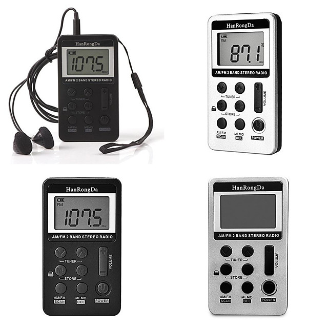 Two band FM AM rechargeable portable digital display mini radio