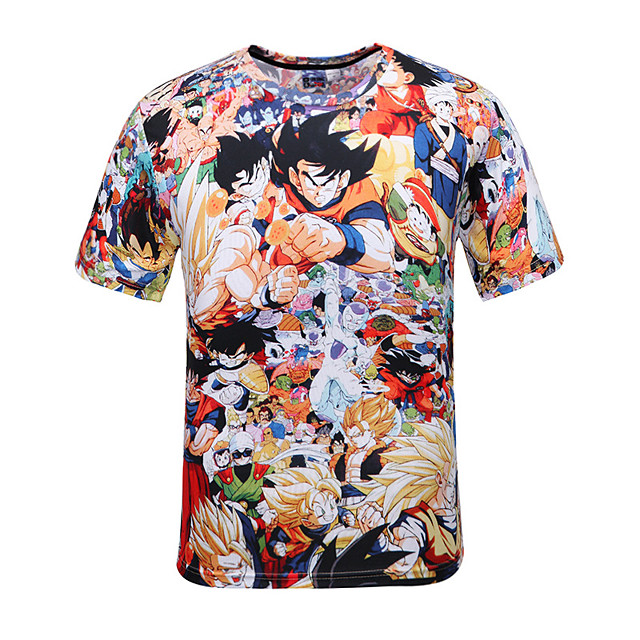 Inspired by Dragon Ball Son Goku Cotton Polka Dot T-shirt For Men's