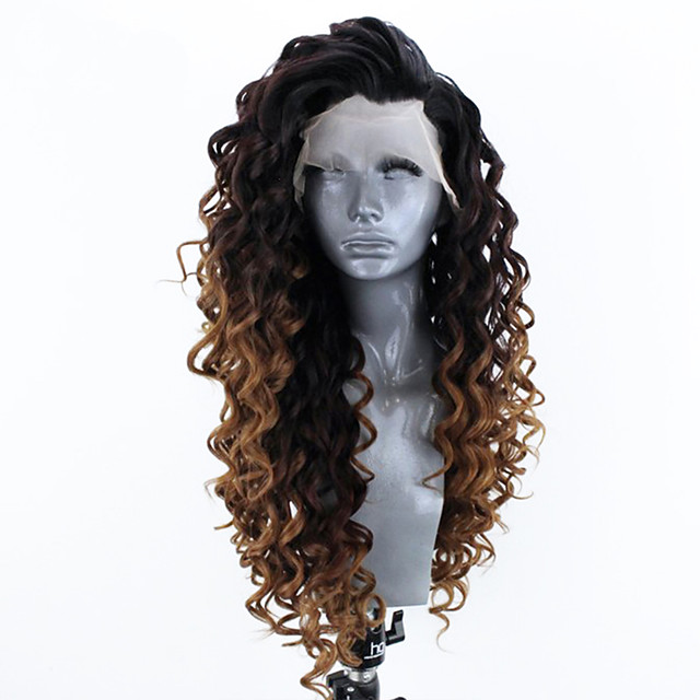 Synthetic Lace Front Wig Curly Side Part Lace Front Wig Ombre Long Ombre Black / Medium Auburn Synthetic Hair 18-26 inch Women's Adjustable Heat Resistant Party Ombre