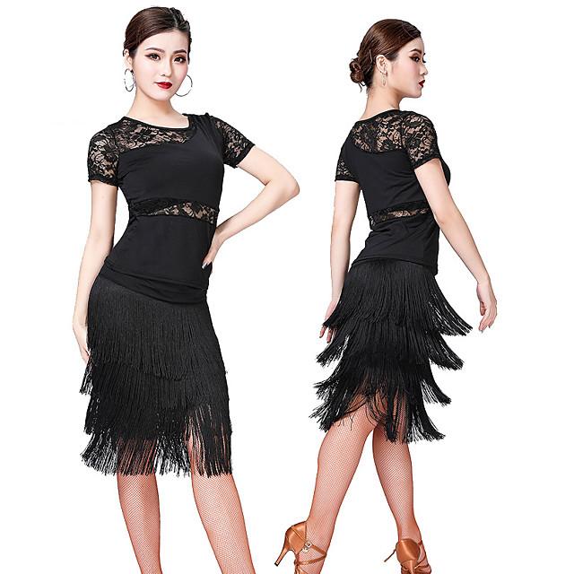 Women's Flapper Girl Latin Dance Flapper Dress Party Costume Tassel Flapper Costume Lace Polyster Black Purple Red Dress
