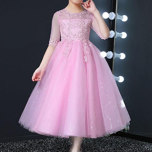 Kids Little Girls' Dress Solid Colored Tulle Dress Golden White Blushing Pink Dresses
