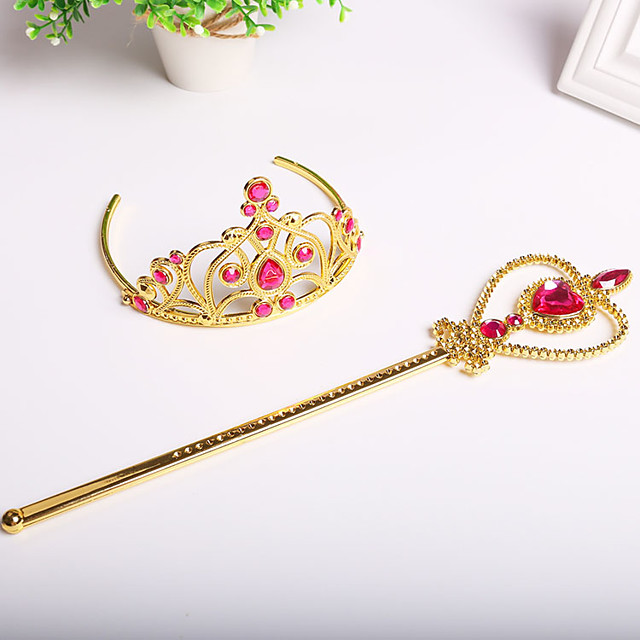 Belle Masquerade Flower Girl Dress Tiara Girls' Movie Cosplay A-Line Slip Cosplay Halloween Golden / Fuchsia / Blue Crown Wand Halloween Carnival Masquerade Plastic