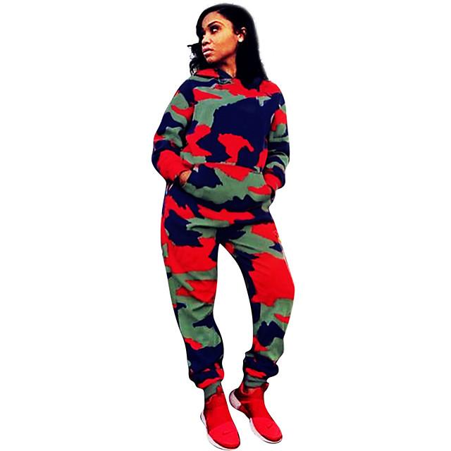 Women's 2 Piece Tracksuit Sweatsuit Streetwear Street Casual Long Sleeve Windproof Breathable Soft Fitness Running Jogging Sportswear Camo Hoodie Track pants Camouflage Activewear Micro-elastic
