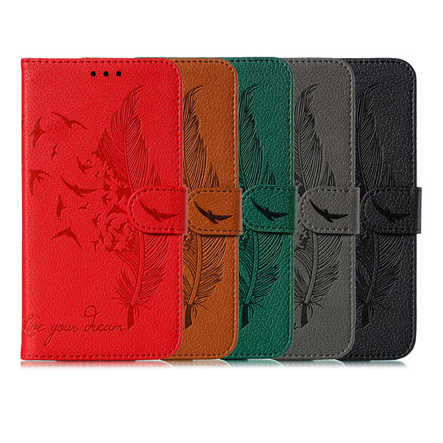 Case For Google Wallet / Card Holder / with Stand Full Body Cases Feathers PU Leather for Google 3a 3a XL 3 3L