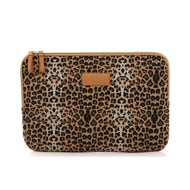11.6 12 13.3 14.1 15.6 inch Universal Leopard print Canvas Water-resistant Shock Proof Laptop Sleeve Case Bag for Macbook/Surface/Xiaomi/HP/Dell/Samsung/Sony Etc