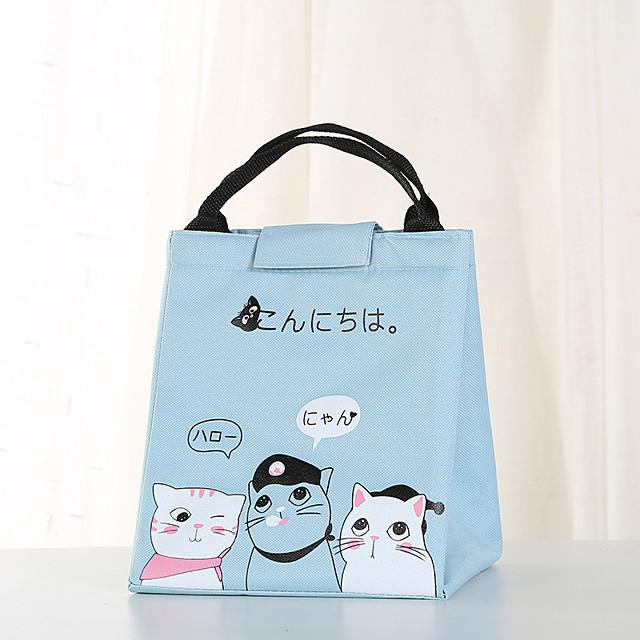 Unisex Oxford Cloth Lunch Bag Zipper Cartoon Daily Outdoor Handbags Black Yellow Pink Sky Blue