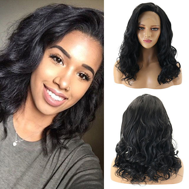 Synthetic Lace Front Wig Wavy Bouncy Curl Water Wave Free Part Lace Front Wig Medium Length Black#1B Gold Pink Black / Sapphire Blue Ombre Brown Jet Black Synthetic Hair 12-26inch Women's Gift