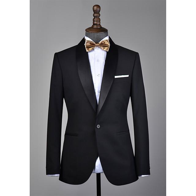Black shawl lapel wool custom tuxedo