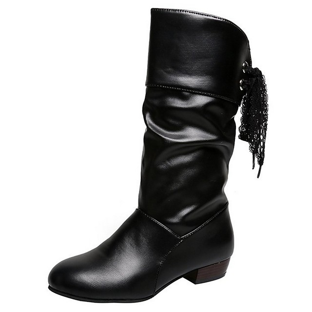 Women's Boots Low Heel Round Toe Daily PU Mid-Calf Boots White / Black / Red