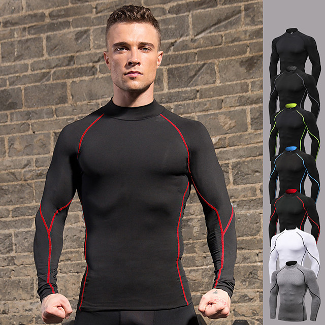Men/'s Long Sleeve T-Shirt Baselayer Cool Dry Compression Jogging GYM Stretch Top