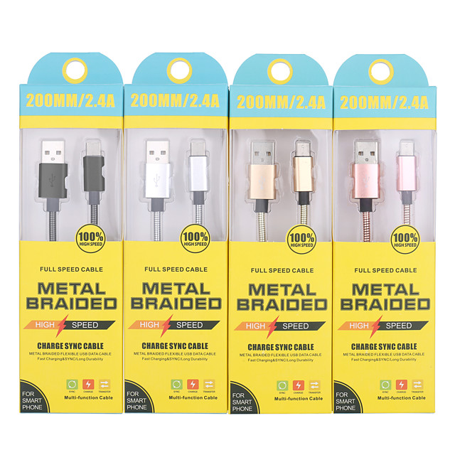 Type-C Cable 0.2m(0.65Ft) Quick Charge Stainless steel USB Cable Adapter For Samsung / Huawei / Xiaomi
