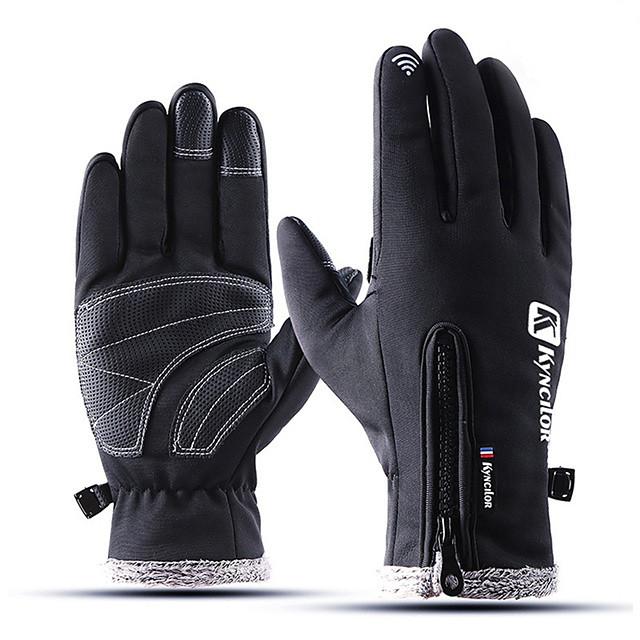 Waterproof Windproof Full Finger Bike Gloves Cycling Gloves Anti-Slip Zipper