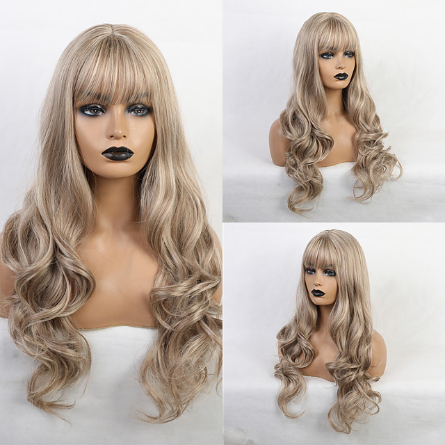 Synthetic Wig Bangs Curly Body Wave Side Part Neat Bang With Bangs Wig Long Light Brown Synthetic Hair 24 inch Women's Cute Cosplay Women Light Brown HAIR CUBE